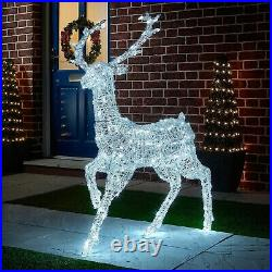 Led ice white reindeer/stag large 125cm outdoor/indoor 5metre mains operated bnw
