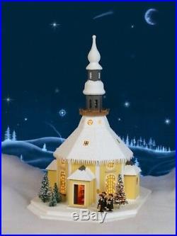 Lichterhaus Seiffener Kirche mit Kurrende mit Weihnachtsbaum NEU
