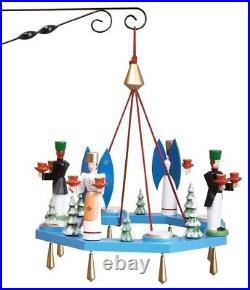 Lichterkranz Adventskranz mit Engel und Bergmann Teelicht BxT = 38x38cm NEU