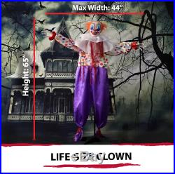 Life-Size Animated Scary Talking Clown Prop Halloween Figurine Outdoor Decor