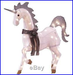 Light-Up Unicorn, Magical Indoor/Outdoor Holiday Lawn Decoration, Chenille, 42