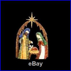 Lighted Burlap Nativity Scene 76 in. LED Outdoor Holiday Christmas Decorations