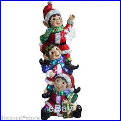 Lighted Christmas Decoration 3 Elves Snowflake LED Life Size Indoor Outdoor Prop