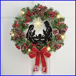 Lighted Christmas Wreath Outdoor Holiday Nativity Scene Baby Jesus 18Door Decor