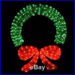 Lighted Christmas Wreath With Bow 48 Indoor Outdoor Decor 400 Green Red Lights