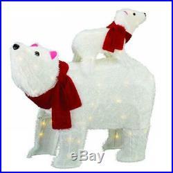 Lighted Furry White Polar Bear Sculpture Pre Lit Outdoor Christmas Decor Yard