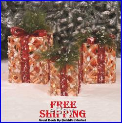 Lighted Gift Boxes Set of 3 Christmas Decoration Lights Indoor Outdoor Decor New