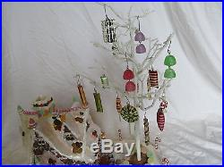 Lighted Gingerbread House Christmas Decor with Candy Ornament Tree Rare! BXD 10
