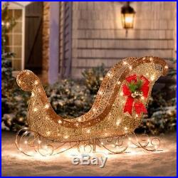 Lighted Glittering Gold Champagne Sleigh Sculpture Outdoor Christmas Yard Decor