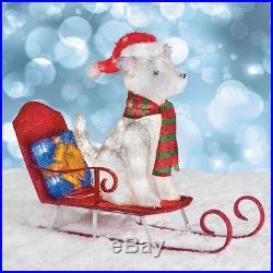 Lighted Husky Dog on Sled Sculpture Outdoor Christmas Yard Decoration Display