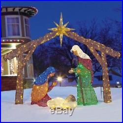 Lighted Nativity Scene Indoor Outdoor Display Christmas Decor Jesus Manger Yard