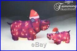 Lighted Purple Hippos Mother & Child 2 Pack Christmas Yard Display Winter Season