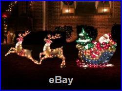 Lighted Santa Sleigh with Reindeer Christmas Yard Decor (New) FREE SHIPPING