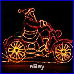 Lighted Santa on Motorcycle Outdoor Christmas Rope Light Yard Decor Animated NEW