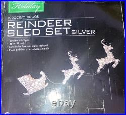 Lighted Silver Reindeer Sleigh Christmas Outdoor Decoration 60 Clear Lights NIB