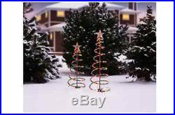 Lighted Spiral Christmas Tree Set Outdoor Sculptures Multi-Color Lights 2 Pack