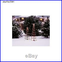 Lighted Spiral Christmas Trees Outdoor Set Of 2 Decor Multi-Color 3' And 4