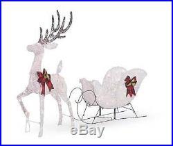 Lighted White Reindeer & Sleigh Sculpture Outdoor Christmas Decor Yard Lights