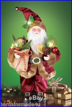Lighted Woodland Santa 12 Christmas Holiday LED Standing Tabletop Decor