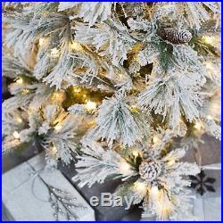 Lightly Flocked Snowbell Pine Pre-Lit Full Christmas Tree, Green with White