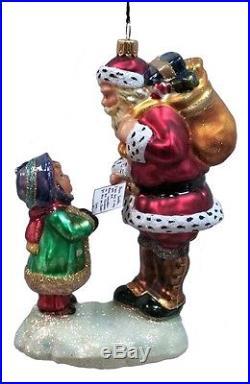 Little Girl Giving Letter to Santa Polish Glass Christmas Ornament Decoration