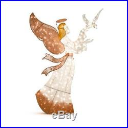 Lize Size Lighted Angel With Dove Christmas Outdoor Yard Decor Prelit Sculpture