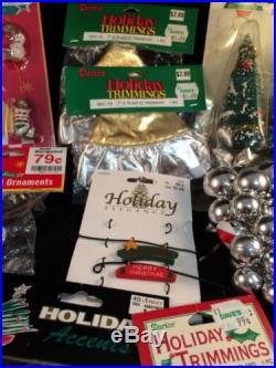 Lot Mini Christmas Tree Ornaments Tree Skirt Snow Flakes More