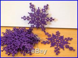 Lot Purple Glitter Snowflakes Christmas Tree Ornaments Winter Decoration Holiday