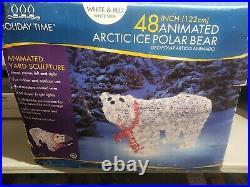 Lot of 2 Lighted Polar Bear Sculpture Outdoor Christmas Yard Decoration READ