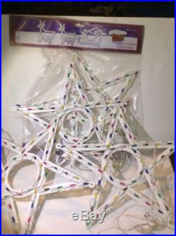 Lot of 4 Sterling Christmas Star multicolor light decoration indoor outdoor