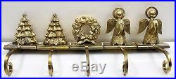Lot of 5 Vintage Brass 3D Christmas Tree Stocking Mantle Garland Holders HEAVY