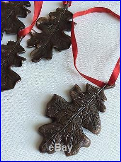 Lot of 6 Bronze Leaf Ornaments Christmas Holiday Decor Tree Brown Cast