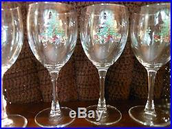 Lot of 8 Christmas/Holiday Wine Glasses -christmas tree