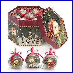 Love Christmas Snowmen Ornaments Set of 12 with Decorative Box Collectible New