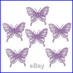 Luxury Christmas Tree Glitter Bauble Decorations Butterfly x 6 Purple