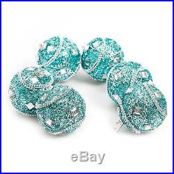 Luxury Christmas Tree Ornate Xmas Bauble Decorations (80mm) 6 x Turquoise Jewel