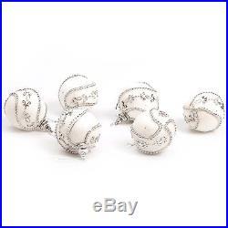 Luxury Christmas Tree Ornate Xmas Bauble Decorations (80mm) 6 x White Jewel