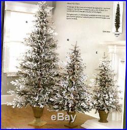 M3108027 5′ PRE-LIT FLOCKED FLAT TREE in URN Stand NEW Wow! Raz Imports