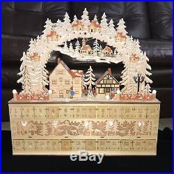 MARTHA STEWART Huge Wooden Christmas Advent Calendar Village Town Light-Up 24×24
