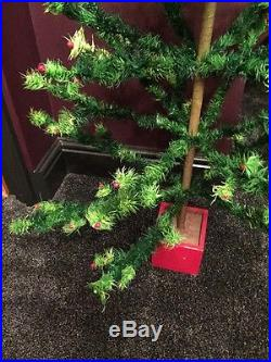 MASSIVE ANTIQUE VINTAGE 54 TALL GOOSE FEATHER CHRISTMAS TREE