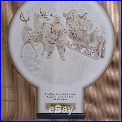 Member's Mark 2005 White Gold Porcelain Santa Sleigh And Reindeer Christmas Set