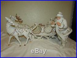 Member's Mark White & Gold Porcelain Santa Sleigh And Reindeer Christmas Set