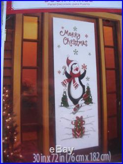 MERRY CHRISTMAS PENGUIN DOOR COVER PANEL CHRISTMAS 30 X 72 NEW IN PKG