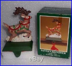 MIDWEST Cast Iron SANTA'S REINDEER Christmas STOCKING HOLDER Hanger In BOX