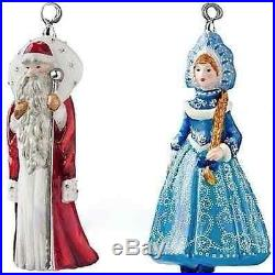 MR. & MISS SANTA Glass Christmas Ornament MOSTOWSKI KOMOZJA Swarovski NIB
