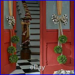 Mackenzie Childs BOXWOOD TRIO Hanger with Courtly Check Ribbon NEW $250 m20-f