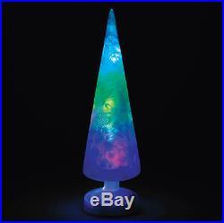 Magic Polychrome Red White & Green Glass Tree LED Light SET OF 3 -53-54 NEW