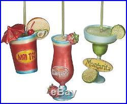 Mai Tai Daiquiri Margarita Tropical Drink Holiday Ornaments Set of 3 Midwest CBK