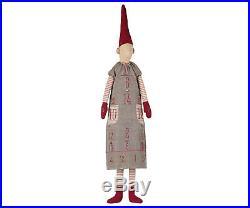 Maileg-Danish Nisse Pixy Christmas Advent Calendar Girl Grey Patchwork Dress