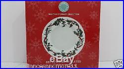 Martha Stewart Set Of 4 Dinner Plates Holiday Garden Christmas White Dinnerwar